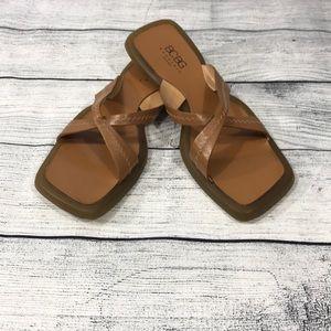 BCBG MaxAzria Beige/Brown Flat Sandals